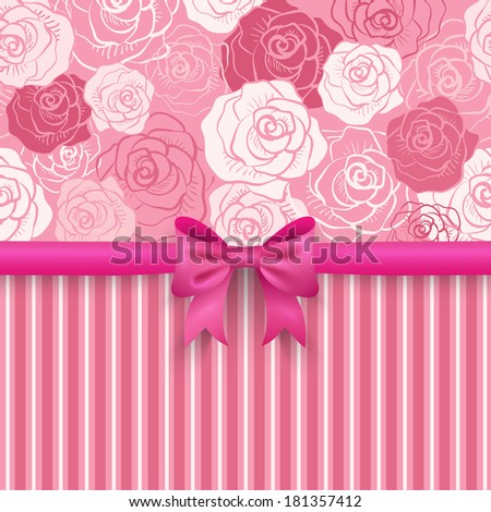 Romantic seamless background. Pink, red, white shabby colors. Flower rose pattern. Pretty design. Patterns of floral and stripe, cute bow. Greeting card wallpaper for valentine day. Raster version. - stock photo