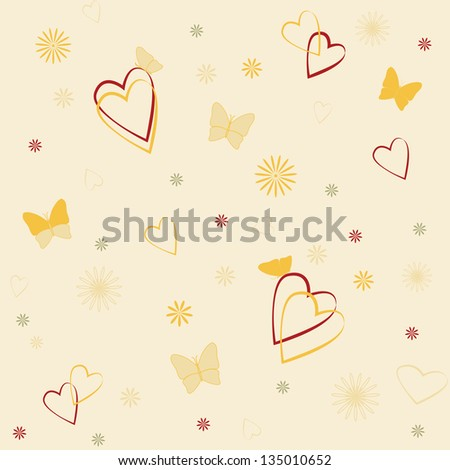 Romantic seamless background with hearts and butterflies. Raster version. - stock photo