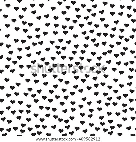 Romantic seamless pattern with tiny black hearts. Abstract repeating. Cute backdrop. White background. Template for Valentine's, Mother's Day, wedding, scrapbook, surface textures. - stock photo