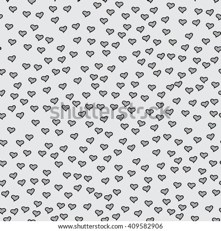 Romantic seamless pattern with tiny hearts. Abstract repeating. Cute backdrop. Light gray background. Template for Valentine's, Mother's Day, wedding, scrapbook, surface textures.  - stock photo