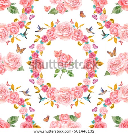romantic seamless texture with rose fancy and butterflies. watercolor painting.