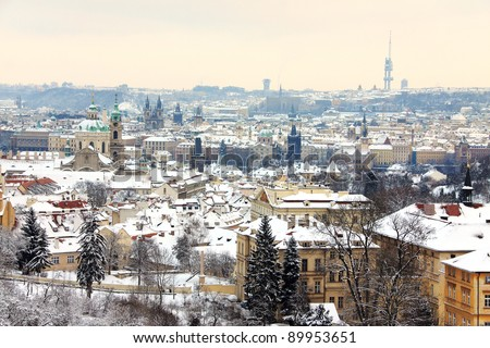 Romantic Snowy Prague City in the sunny Day, Czech Republic