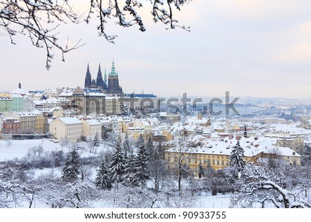 Romantic Snowy Prague gothic Castle with Trees, Czech Republic - stock photo
