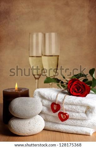 romantic spa decoration candles spa stones stock photo 128175368