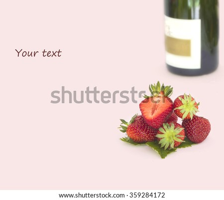 Romantic still life with champagne and strawberry - stock photo