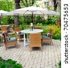 Romantic summer outdoor cafe terrace - stock photo