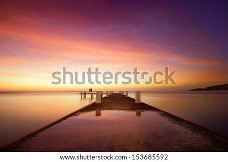 Romantic sunset in the Caribbean - stock photo