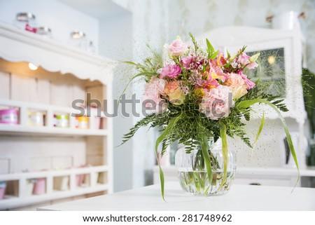 Romantic tender boquet waiting in the vase - stock photo