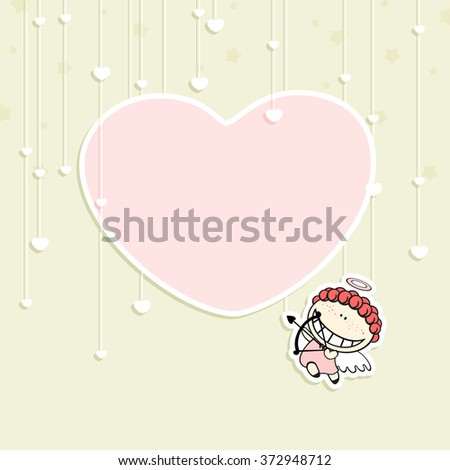 Romantic Valentine's Day card with a cute cupid and space for your text or photo (raster version) - stock photo