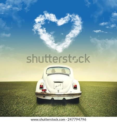 romantic valentine's day off road - stock photo