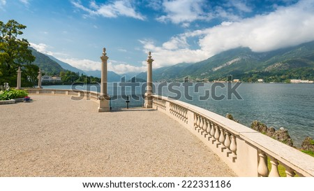 Romantic view at the gardens of Villa Melzi in September, Bellagio, Lake Como, Lombardy, Italy, Europe - stock photo
