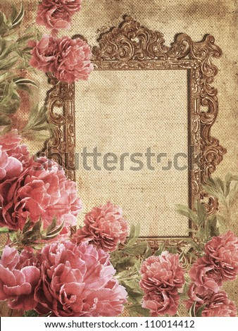 Romantic Vintage Photo Frame - stock photo