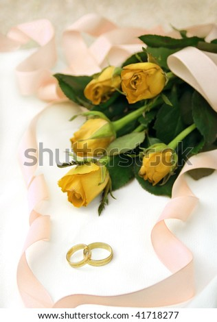 Romantic wedding composition - stock photo