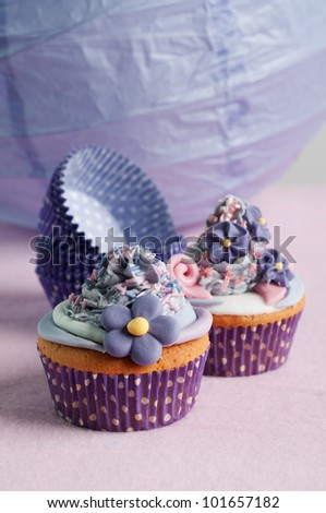 romantic wedding cupcakes - stock photo