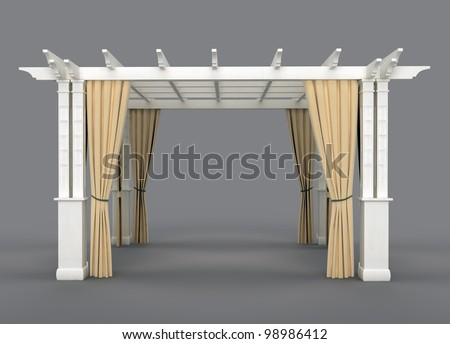 romantic wedding gazebo with wooden pergola and drapery. isolated on gray background