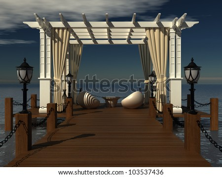 romantic wedding gazebo with wooden pergola at the pier on the sea. paradise place to relax with a lounge area