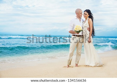 romantic wedding on the beach, bali - stock photo