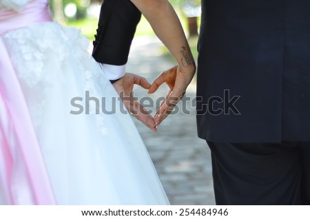Romantic wedding photos - stock photo