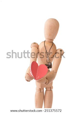 Romantic Wooden people hold red heart on White Isolated Background - stock photo