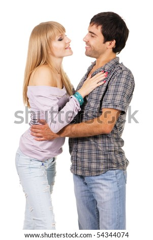 Romantic young couple in casual clothing, white background