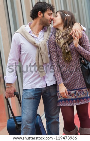 Romantic Young Couple on Vacation - stock photo