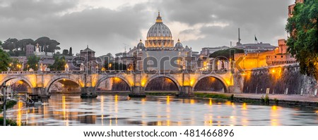 Rome and Vatican, cityscape, with St peter's basilica and bridge over the river Tiber, on cloudy evening. Artistic selective color edit.