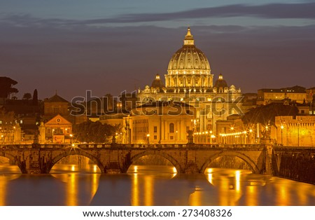 Rome - Angels bridge and St. Peters basilica in evening dusk - stock photo