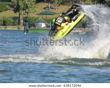 ROME - APR 30, 2017: Jet ski demonstration during a water sports show at EUR lake