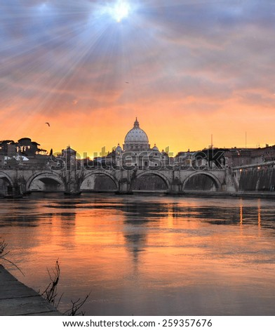 Rome at sunset - stock photo