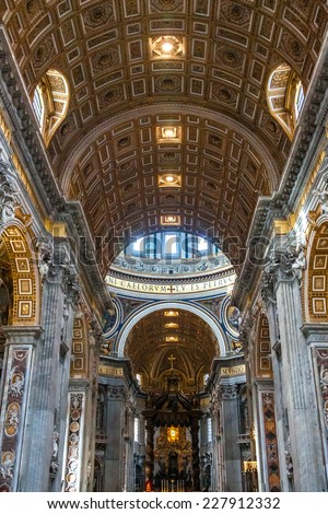 ROME - AUGUST 1: Indoor St. Peter's Basilica on August 1, 2012 in Rome, Italy. St. Peter's Basilica until recently was considered largest Christian church in world - stock photo