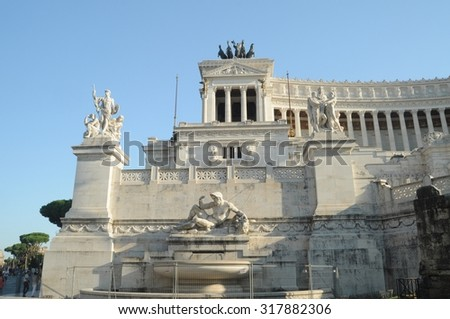 Rome - August 30: Piazza Venezia on August 30, 2015 in Rome, Italy. Vittorio Emanuele Monument in Piazza Venezia is one of the most famous monuments in Rome.  - stock photo