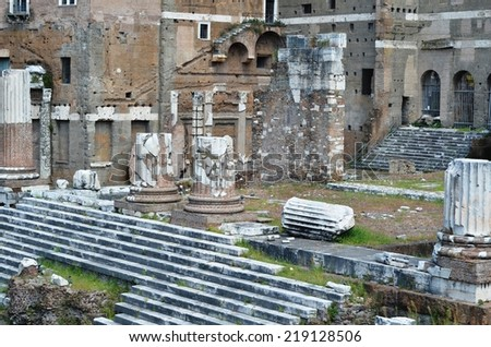 ROME - AUGUST 27, 2014: Ruins of the ancient Trajans Forum in Rome, Italy
