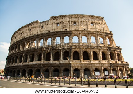 ROME-AUGUST 25: The Colosseum on August 25,2013 in Rome, Italy. The Colosseum is an elliptical amphitheatre in the centre of the city of Rome, Italy.