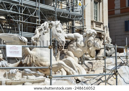 ROME - AUGUST 27, 2014: Trevi Fountain reconstruction, Rome, Italy