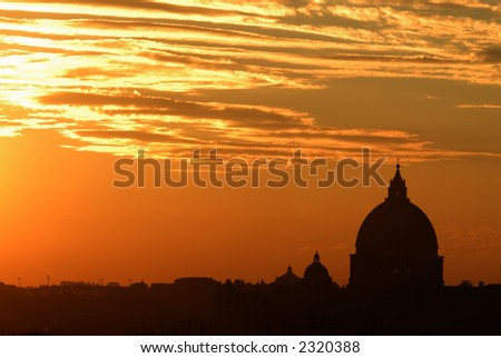 Rome by night series (others available) - sunset panorama with the Saint Peter Basilica silhouette - stock photo