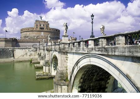 Rome - Castel Sant'Angelo ( Mausoleum of Hadrian), Italy - stock photo