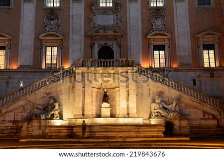 Rome, Circa November 2013.The Piazza del Campidoglio also known as Capitoline Hill was designed by Michelangelo.Capitoline hill is the most sacred of Romes seven hills. - stock photo