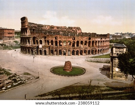 Rome, Colosseum and Meta Sudans at Rome, photochrom, ca 1890s
