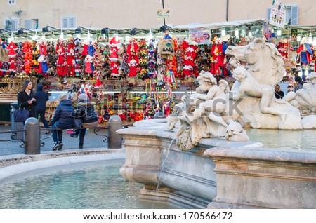 ROME-DEC 2, 2012: Piazza Navona on Dec 2, 2012 in Rome. The Piazza Navona is one of most famous squares in rome, including the fountain of the four rivers of Bernini. - stock photo