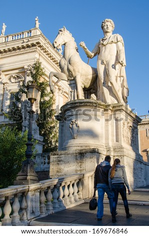 ROME-DEC 1, 2012: Stairway to the Capitoline Hill  on Dec 1, 2012 in Rome. The renaissance design of this piazza was created by Michelangelo