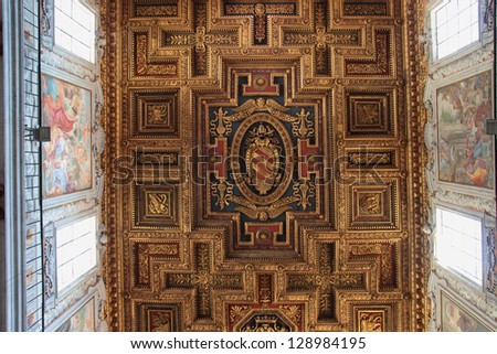 ROME - FEB 4: detail of the wooden ceiling in The Basilica of St. Mary of the Altar of Heaven, on february 4, 2013 in Rome, Italy