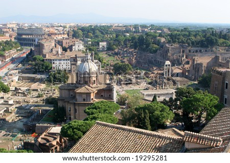Rome - Forum romanum and st. Luke chrch and Colosseum from Vittorio Emanuel monument