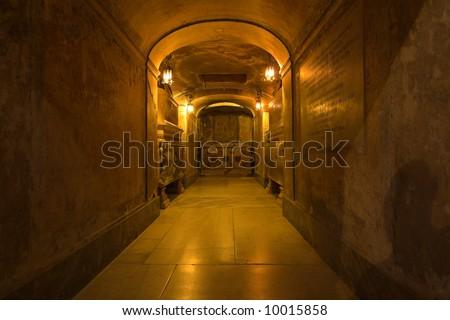 rome- inside view of basilica santa prassende - undeground - stock photo