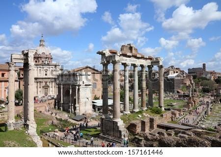 Rome, Italy - ancient Roman Forum, UNESCO World Heritage Site - stock photo