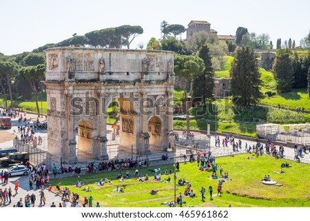 ROME, ITALY - APRIL 8, 2016:  Arch of Constantine, ancient construction of emperor victory over Maxentius in 312AD, Locates next to Coliseum