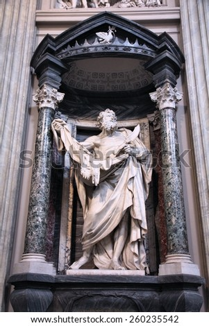 ROME, ITALY - APRIL 8, 2012: Interior view of Lateran Basilica with Saint Bartholomew statue in Rome. Famous baroque landmark was first consecrated in year 324. - stock photo