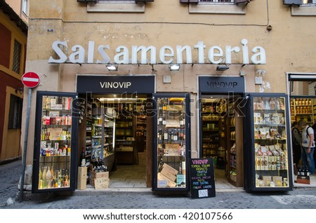 ROME, ITALY - APRIL 27:  Italian products shop at the street Via de Lucchesi in Rome on April 27, 2016