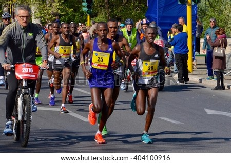 Rome, Italy - April 10, 2016: Kenian Ruto Dominic leading 22 Rome Marathon at Km 25, he will finish at third place.