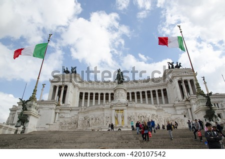 ROME, ITALY - APRIL 26:  Monument at Piazza Venezia in Rome, Italy on April 26, 2016