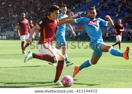 ROME, ITALY - April 2016 : Perotti Koulam in action during fotball match  serie A  League 2015/2016 between A.s. Roma  vs Napoli  at the Olimpic Stadium  on april 25, 2016 in Rome. - stock photo